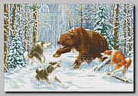 """Схема для полной вышивки бисером """"Охота на медведя"""""""