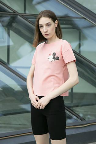 Футболка рожева з принтом Mickey Mouse OX!, фото 2