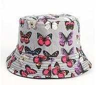 Панама двухсторонняя с разноцветными бабочками