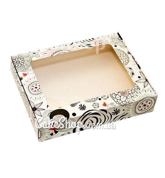 Коробка для пряників 192х148х40 мм, Абстракція чорно-біла