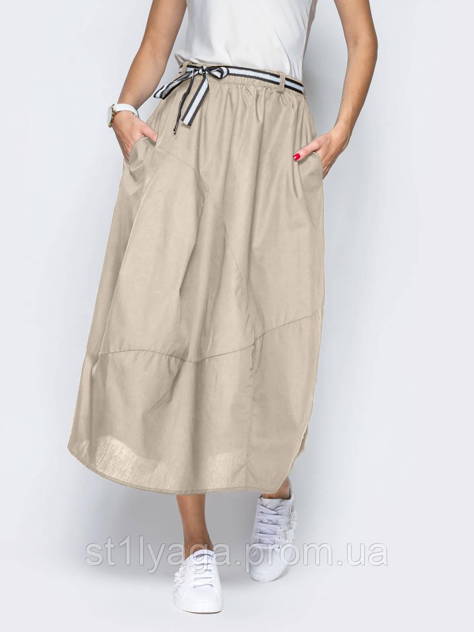 Стильная длинная юбка-баллон с поясом на резинке и боковыми карманами ЛЕТО