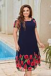 Ошатне легке літнє плаття вільного крою підкладці з квітковим принтом великих розмірів 52, 54, 56, 58, фото 2
