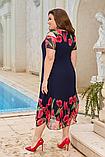 Ошатне легке літнє плаття вільного крою підкладці з квітковим принтом великих розмірів 52, 54, 56, 58, фото 3