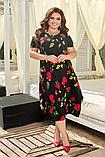 Нарядное летнее легкое платье свободного кроя с цветочным принтом больших размеров 52, 54, 56, 58, фото 2