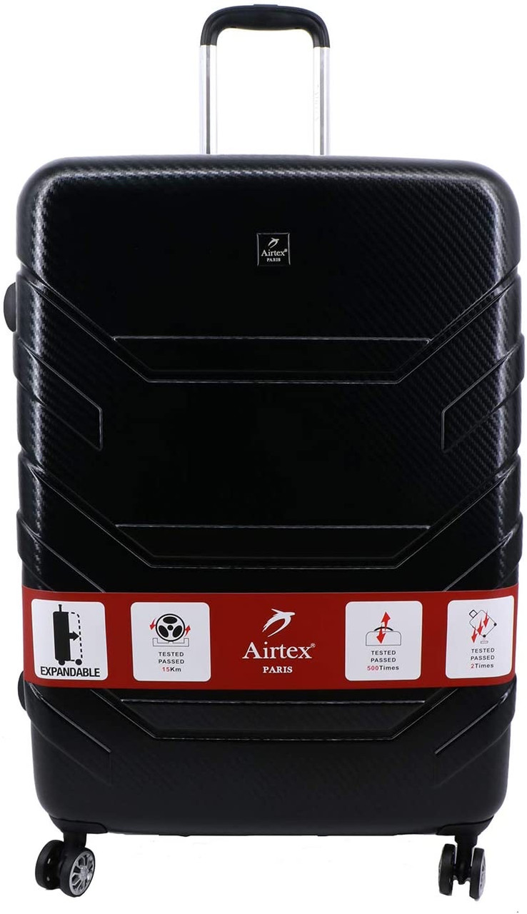 Валіза з полікарбонату на 4х колесах середня M чорна   65х44х28 см   3.700 кг   71 л   AIRTEX 7313