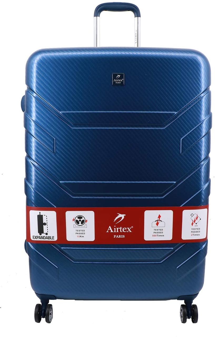 Чемодан поликарбонат  на 4х колесах средний  M синий | 65х44х28 см | 3.700 кг | 71 л | AIRTEX 7313