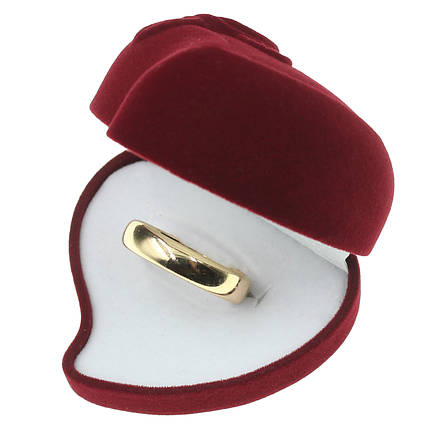 Футляр для кольца и украшений сердце  с розой бордовый бархат белое в нутри 6.5х6х4.5 сантиметра большое люкс, фото 2
