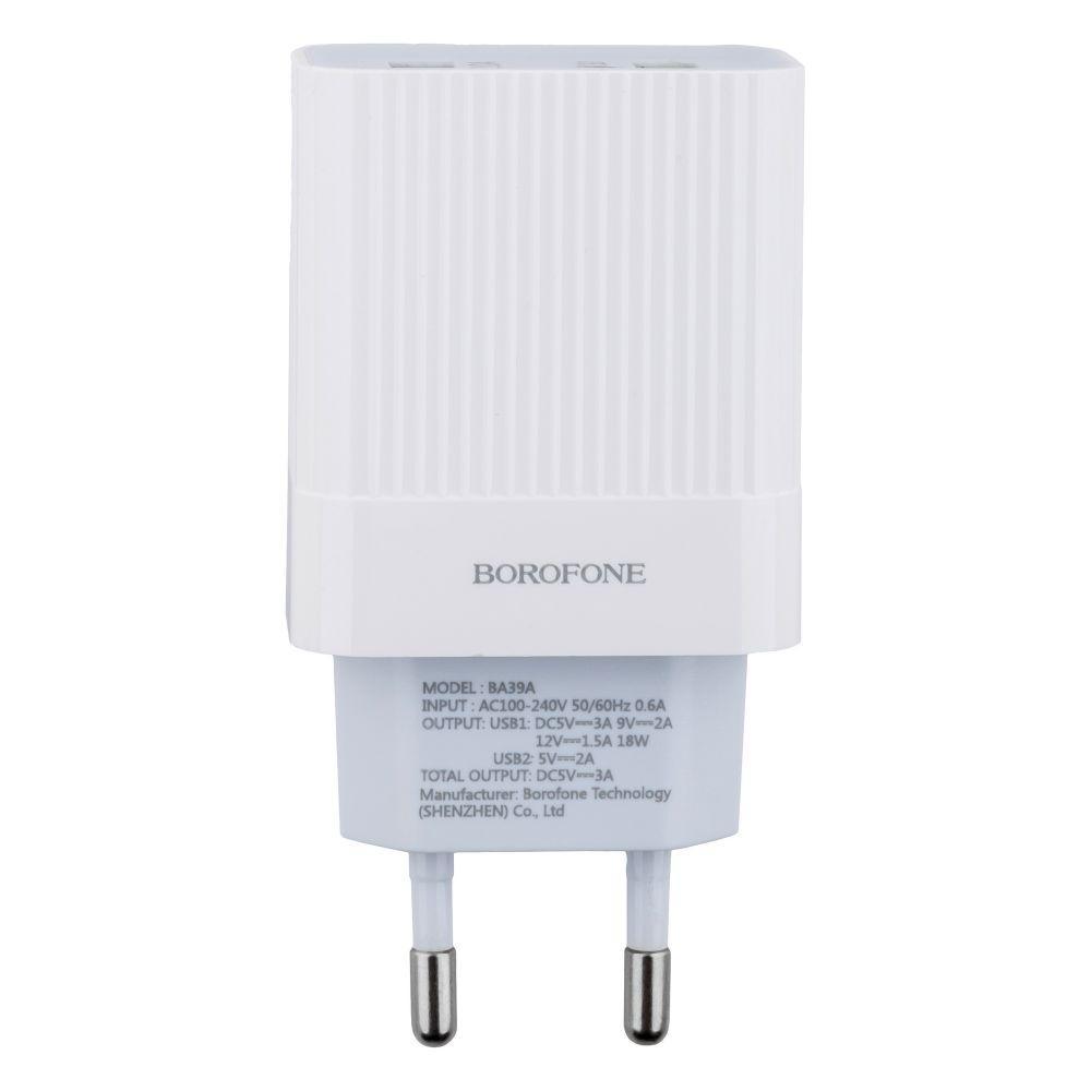 Сетевое Зарядное Устройство Borofone BA39A QC3.0 2USB 18W