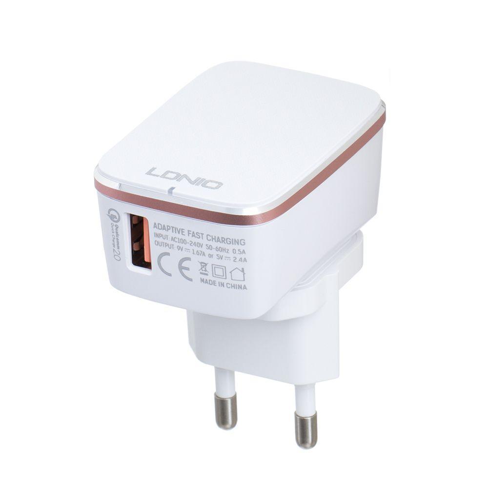 Мережевий Зарядний Пристрій LDNIO A1204Q QC3.0 18W Micro