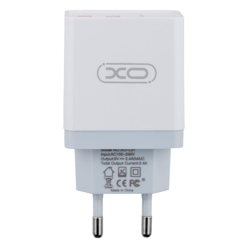 Мережевий Зарядний Пристрій XO L31 Micro 2USB 2.4 A