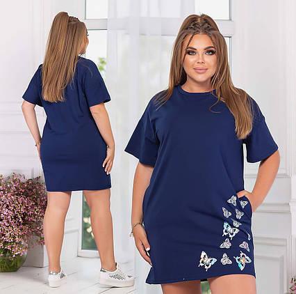 """Женская летняя туника-платье в больших размерах 1177 """"Бабочки"""" в расцветках"""