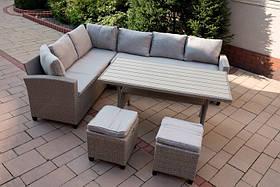 Комплект садових меблів, куточок + стіл + 2 пуфа 01896