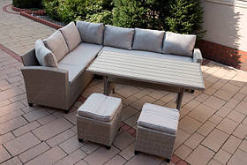 Комплект садовой мебели, уголок + стол + 2 пуфа 01896