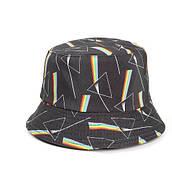 Двухсторонняя панама черная с принтом треугольник и спектр