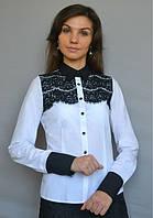 Блуза белая с чёрным кружевом
