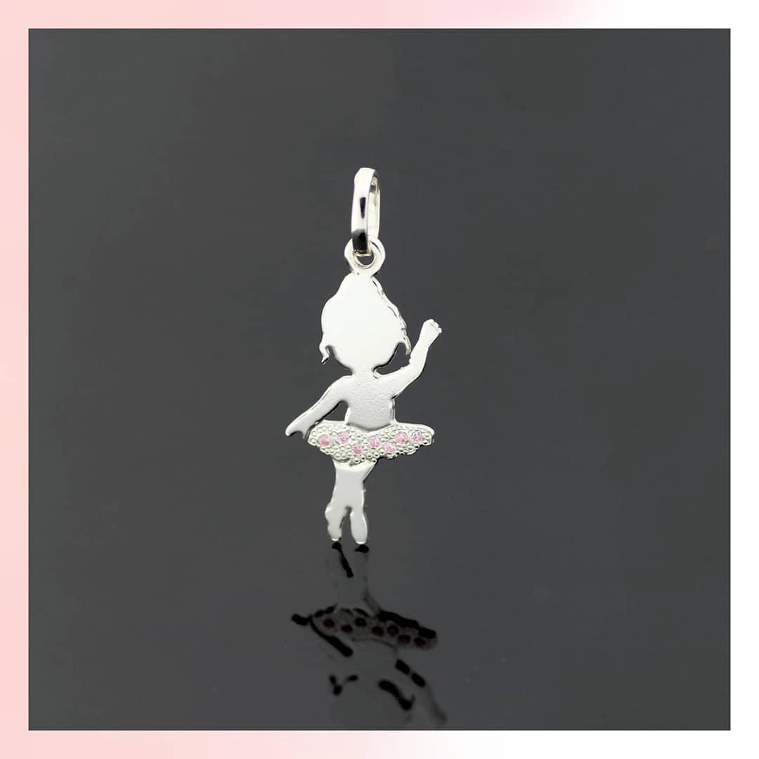 """Серебряный кулон подвеска """"Маленькая танцовщица-2"""". 2,5см. 925 проба. Балерина. Танцы"""