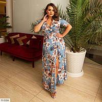 Длинное платье в пол на запах с цветочным принтом больших размеров 48-62 арт. 1465