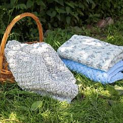 Дитячий в'язаний плюшевий плед Alize Puffy ковдру в коляску ліжечко Lukoshkino ® білий леопард (PP-4)