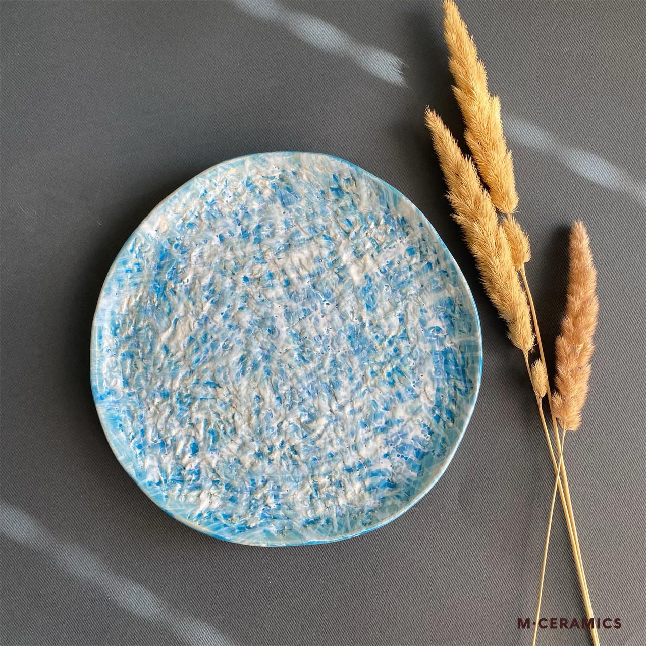Плоская керамическая тарелка Голубая ручной работы