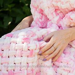 Дитячий в'язаний плюшевий плед Alize Puffy ковдру в коляску на прогулянку Lukoshkino ® рожевий меланж (PP-5)
