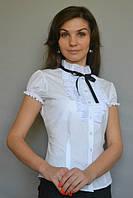 Блуза белая с рюшами и чёрной лентой, фото 1