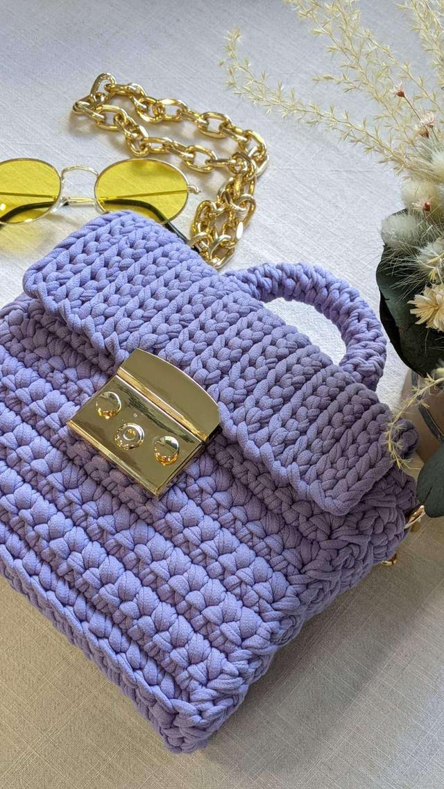 Мастер класс Вязаная мини сумочка крючком из трикотажной пряжи