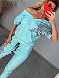 Женский летний голубой трикотажный костюм (Турция); Размеры:42, 44, 46, 48,50 (наши), фото 3