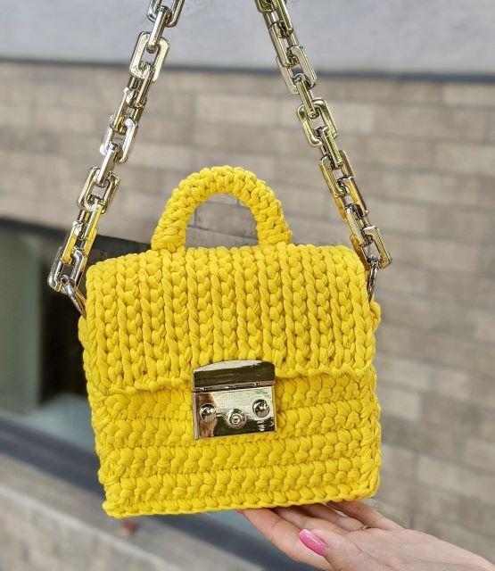 Майстер клас Міні сумка жовта в'язана з трикотажної пряжі