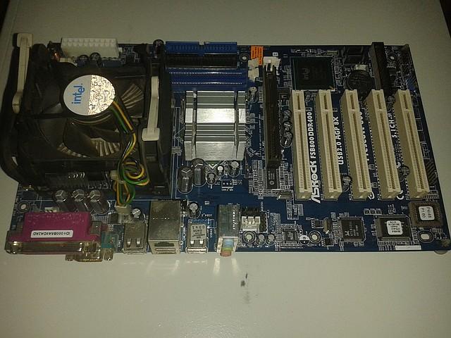 Материнская плата ASRock P4I4B + процессор Intel P4 2.40 GHz,  + кулер, s478