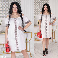 Літнє плаття жіноче красиве нарядне пряме з мереживом з відкритими плечима великих розмірів 48-62 арт. 336