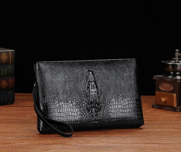 Стильна чоловіча барсетка клатч з крокодилом для документів, чоловічий клатч сумка на руку для чоловіка чорний