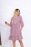 Красивое женское платье до колена трапеция свободное под пояс большие размеры 48-54  арт. 577