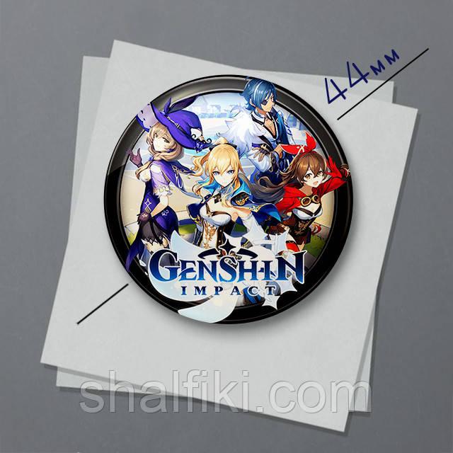 """Геншин Імпакт / Genshin Impact"" магніт круглий Ø44 мм"