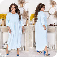 Длинное стильное платье свободное однотонное большие размеры батал р-ры 48-66 арт.  3330