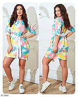 Сукня жіноча коротке літнє у спортивному стилі з поясом великі розміри батал р-ри 48-60 арт. 800