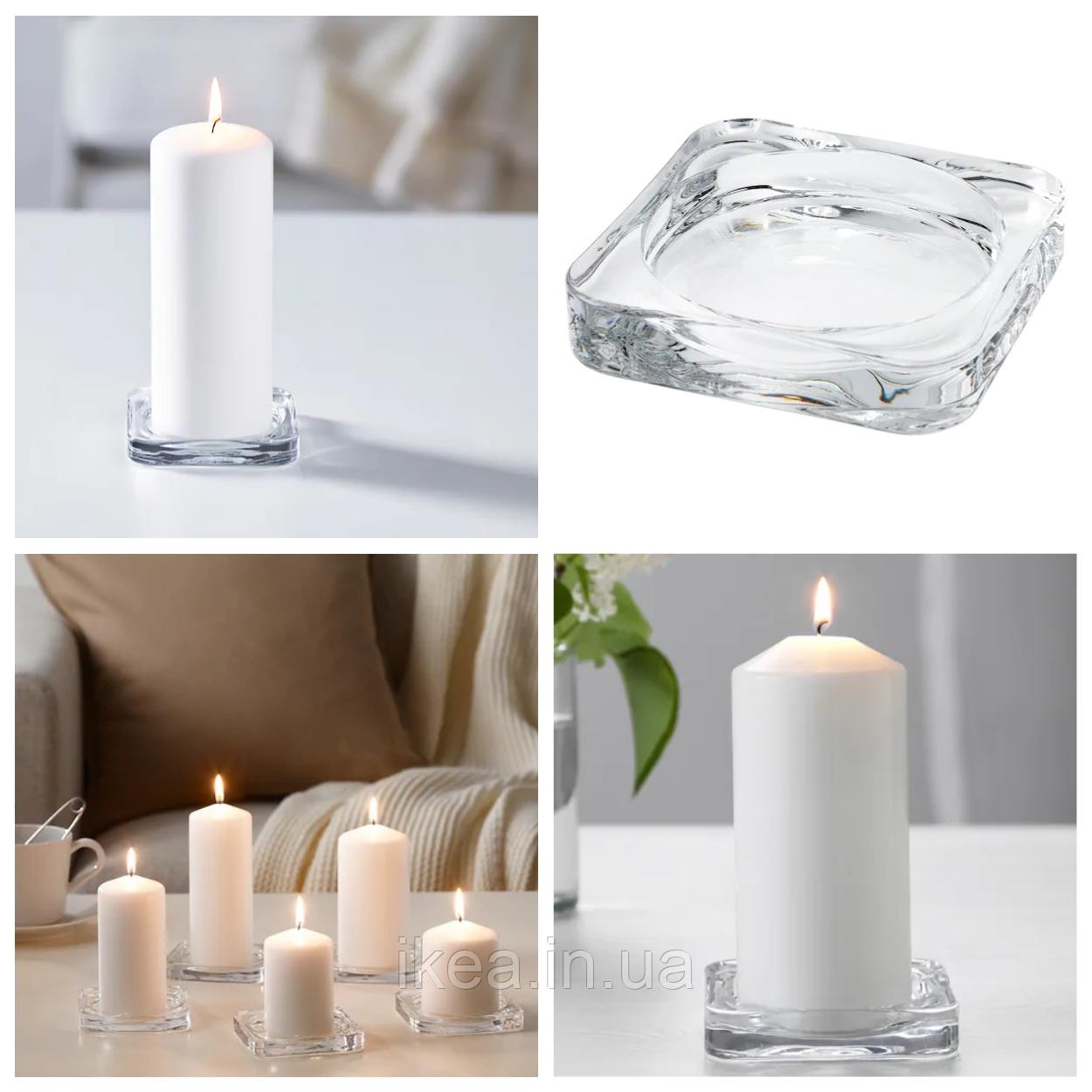 Підсвічник великий скляний для свічок 10x10 IKEA GLASIG прозоре скло ІКЕА ГЛАСІГ