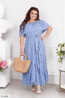 Шикарне софтовое плаття в підлогу на запах в горошок великі розміри 48-54. 1092