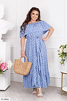 Шикарное софтовое платье в пол на запах в горошек большие размеры 48-54. 1092