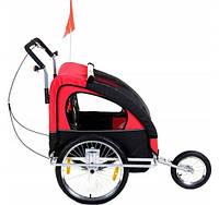 Детская коляска Велоприцеп двухместный Jogger Red амортизированный, фото 1