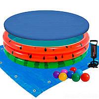 Детский надувной бассейн Intex 58448-3 «Арбуз», 168 х 38 см, с шариками 10 шт, тентом, подстилкой, насосом