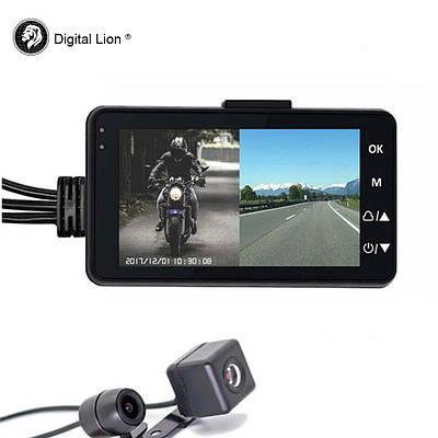 Відеореєстратор для мотоцикла з двома камерами Digital Lion SE330, FullHD 1080P, кут 140 градусів