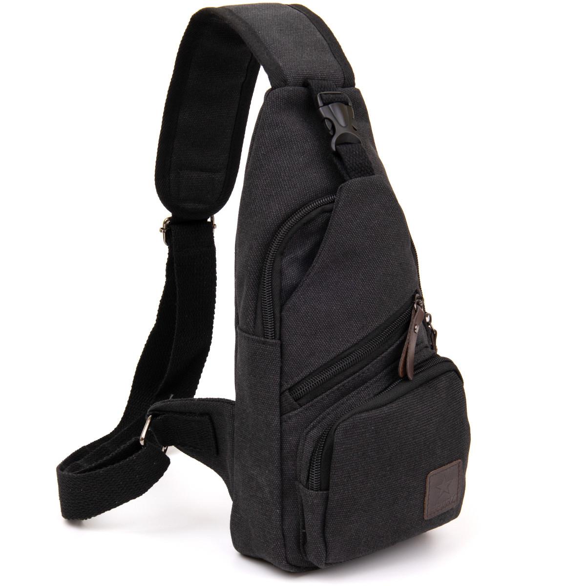 Сумка через плече на одне відділення текстиль Vintage 20562 Чорна