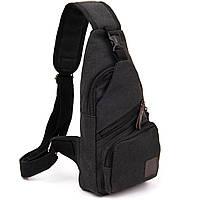 Сумка через плече на одне відділення текстиль Vintage 20562 Чорна, фото 1