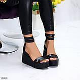Ультра модные черные кожаные женские босоножки натуральная кожа на танкетке платформе, фото 7