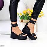 Ультра модные черные кожаные женские босоножки натуральная кожа на танкетке платформе, фото 8