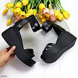 Ультра модные черные кожаные женские босоножки натуральная кожа на танкетке платформе, фото 9