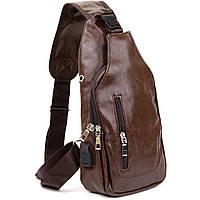 Сумка через плече на два відділення кожзам Vintage 20560 Темно-коричнева