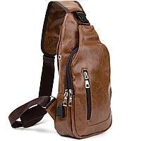 Сумка через плече на два відділення кожзам Vintage 20561 Світло-коричнева