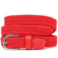 Текстильный тонкий женский ремень классика Vintage 20543 Красный