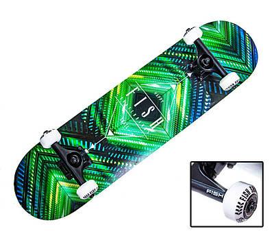 "СкейтБорд деревянный от Fish Skateboard ""Green Rhombus"""